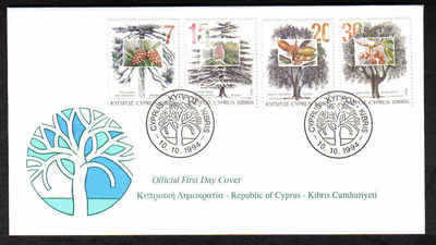 CYPRUS STAMPS SG 855-58 1994  TREES - OFFICIAL FDC (a230)