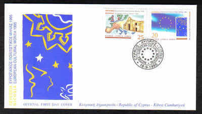 CYPRUS STAMPS SG 889-90 1995  CULTURAL MONTH - OFFICIAL FDC (a223)