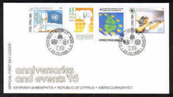 Cyprus Stamps SG 893-96 1995 Anniversaries and Events - Official FDC