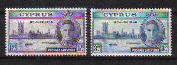 Cyprus Stamps SG 164-65 1946 Victory King George VI - MLH