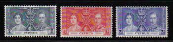 Cyprus Stamps SG 148-50 1937 Coronation KGVI - MINT