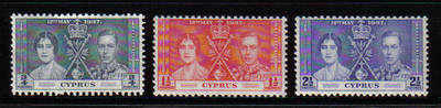 Cyprus Stamps SG 148-50 1937 Coronation KGVI - MINT