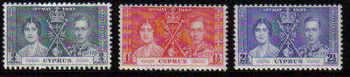 Cyprus Stamps SG 148-50 1937 Coronation KGVI - MLH
