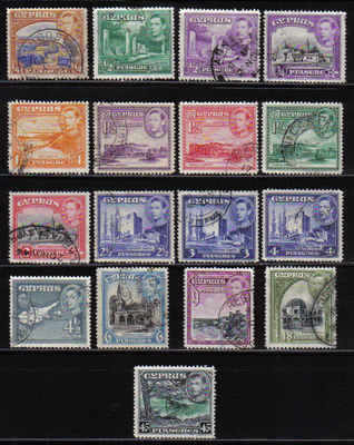 CYPRUS STAMPS SG 151-61 1938 KGVI SHORT SET -  USED (a685)