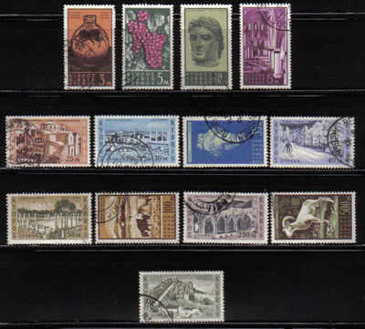 CYPRUS STAMPS SG 211-23 1962 1st DEFINITIVES VIEWS (USED) (a316)