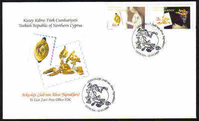 North Cyprus Stamps SG 687-88 2009 Archeology The Golden leaves of Soli - O