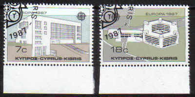 CYPRUS STAMPS SG 704-05 1987 EUROPA MODERN ARCHITECTURE - USED (a498)