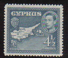 Cyprus Stamps SG 157 1938 4 1/2 Piastres - MLH
