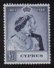 Cyprus Stamps SG 167 1948 KGVI Royal Silver Wedding One Pound - MH