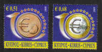 Cyprus Stamps SG 1182-83 2009 10th Anniversary of the Euro - MINT