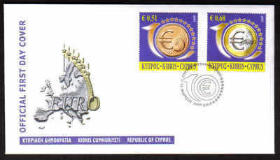 Cyprus Stamps SG 1182-83 2009 10th Anniversary of the Euro - Official FDC