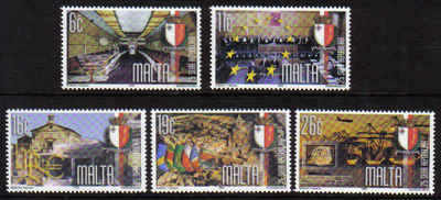MALTA STAMPS SG 1156-60 1999 25th Anniversary of the Republic of Malta - MI
