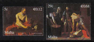 MALTA STAMPS SG 1550-51 2007 400 Years since the arrival of Michelangelo Me