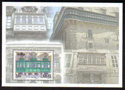 MALTA STAMPS SG 1540 MS 2007 Maltese balconies - mint