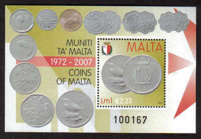 MALTA STAMPS SG 1583 MS 2007 Coins of Malta - mint