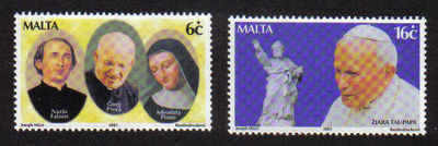 MALTA STAMPS SG 1209-10 2001 Visit of Pope John Paul II to Malta - mint