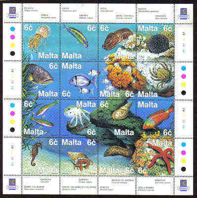 MALTA STAMPS SG 1112-27 1999 Marine life of the Mediterranean - mint