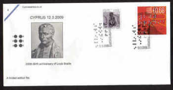 Cyprus Stamps SG 1185 2009 200yrs Since the birth of Louis Braille - Cachet Unofficial FDC (a595)