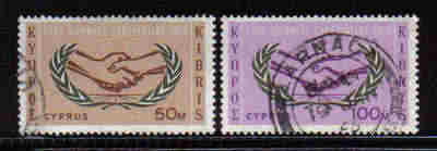 Cyprus Stamps SG 265-66 1965 International Co-operation year - USED (a556)