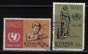 Cyprus Stamps SG 322-23 1968 UNICEF WHO  - USED (a560)