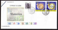 Cyprus Stamps SG 1182-83 2009 10th Anniversary of the Euro - Cachet Unofficial FDC (a594)
