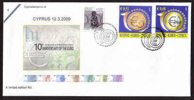 Cyprus Stamps SG 1182-83 2009 10th Anniversary of the Euro - Cachet Unoffic