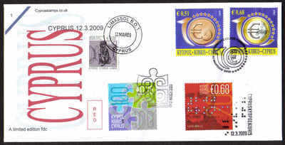 Cyprus Stamps SG 1182-83 2009 and all 12th March issues - Unofficial FDC (a
