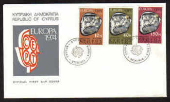 Cyprus Stamps SG 423-25 1974 Europa Sculpture - Official First day cover (a622)