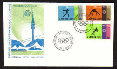 Cyprus Stamps SG 390-92 1972 Munich Olympic Games - FDC (a623)