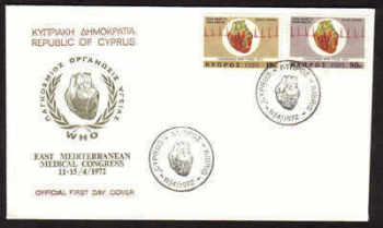 Cyprus Stamps SG 385-86 1972 World heart month - Official First day cover (a624)
