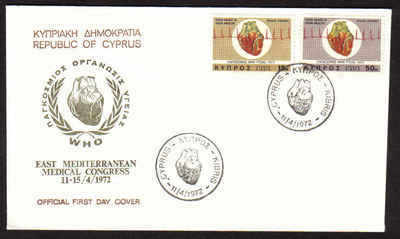 CYPRUS STAMPS SG 385-86 1972 WORLD HEART MONTH - FDC (a624)