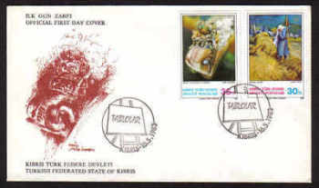 North Cyprus Stamps SG 132-33 1983  Art 2nd Series - Official FDC