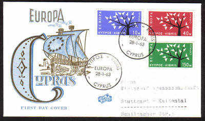 Cyprus Stamps SG 224-26 1963 Europa Tree - Unofficial FDC (a654)