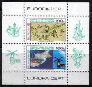 North Cyprus Stamps SG 134 MS 1983 Europa Cyprus from space Sky Lab - Mini Sheet MINT