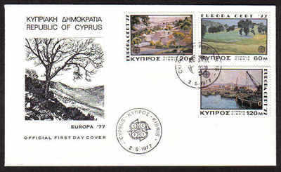 CYPRUS STAMPS SG 482-84 1977 EUROPA LANDSCAPES - OFFICIAL FDC (a626)