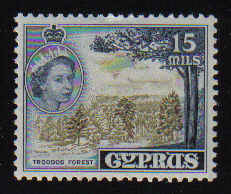 CYPRUS STAMPS SG 177 1955 QEII 15 MILS - MLH