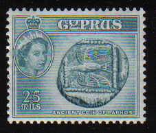 CYPRUS STAMPS SG 179 1955 QEII 25 MILS - MLH