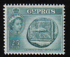 CYPRUS STAMPS SG 179a 1958 QEII 25 MILS - MLH