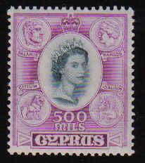 CYPRUS STAMPS SG 186 1955 Queen Elizabeth II 500 MILS - MLH