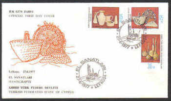 North Cyprus Stamps SG 51-53 1977 Handicrafts - Official FDC