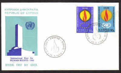 Cyprus Stamps SG 316-17 1968 Human Rights Year - Official First Day Cover (