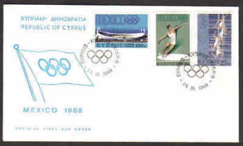 Cyprus Stamps SG 324-26 1968 Mexico Olympic Games - Official FDC (a798)