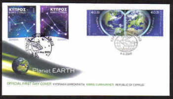Cyprus Stamps SG 1186-87 and 1188-89 2009 Europa Astronomy and Planet Earth - Unofficial FDC (a820)