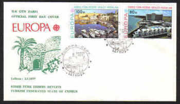 North Cyprus Stamps SG 49-50 1977 Europa - Official FDC