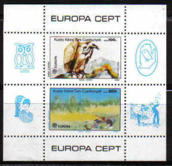 North Cyprus Stamps SG 187 MS 1986 Europa Nature and the Environment - Mini sheet MINT
