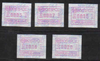 Cyprus Stamps 006-10 Vending Machine Labels Type A 1989 (002) Limassol  - FULL SET MINT