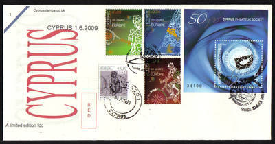 Cyprus Stamps SG 1190-92 and MS 1193 2009 all 1st of June isssues - Cachet