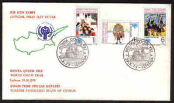 North Cyprus Stamps SG 85-87 1979  Year of the child - Official FDC