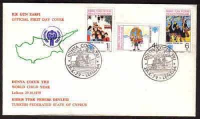 North Cyprus Stamps SG 85-87 1979  Year of the child - Official FDC (a602)