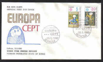 North Cyprus Stamps SG 091-92 1980 Europa Personalities - Official FDC